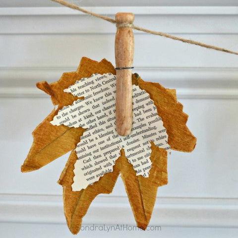 Fall Leaf Banner With Book Pages