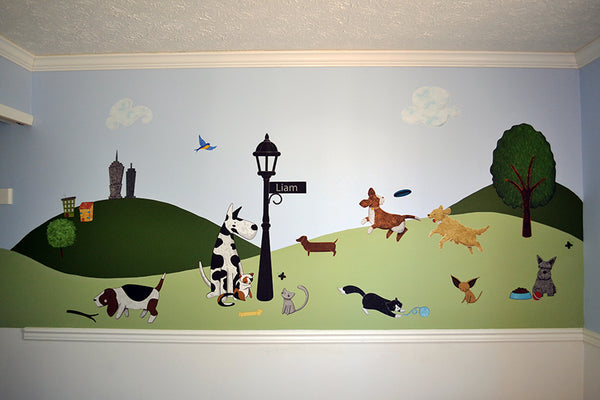 Dog and Cat Themed Wall Mural