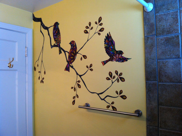 Birds And Branch Wall Stickers Perfect For Small Bathroom