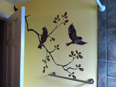Birds and Tree Branch Bathroom Wall Decals