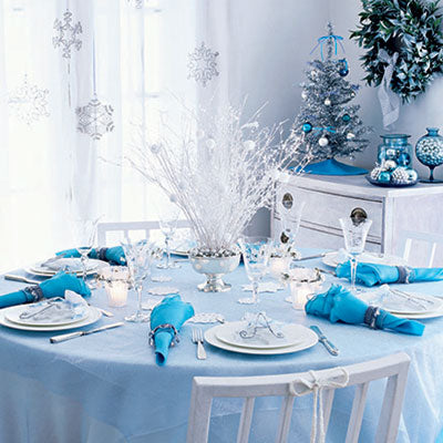 Blue and White Holiday Tablescape