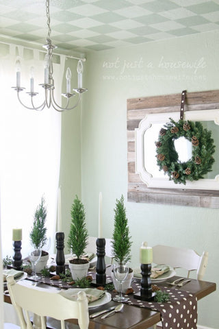 Brown and Green Holiday Table Decor
