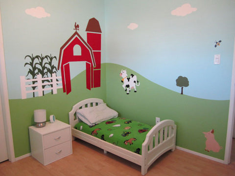 A canadian couple gets their son moo ving in his farm for Barnyard wall mural