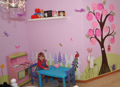 grils room flower wall stencils