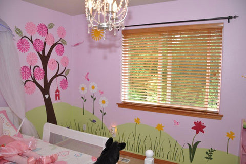 girls flower wall mural