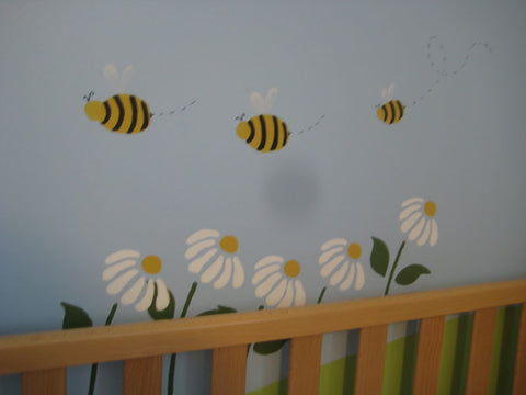 Bees and Flowers Wall Stencils