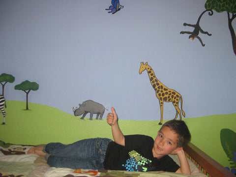 giraffe stencils jungle room