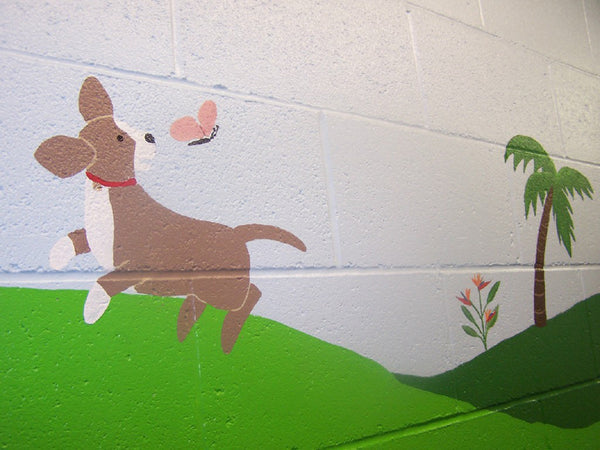 No Cats Allowed In Dog Themed Wall Mural At Hawaii Dog Kennel