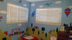 Car and Train Themed Kids Wall Mural