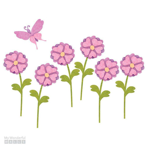 Daisy Flowers & Butterfly Wall Sticker Set