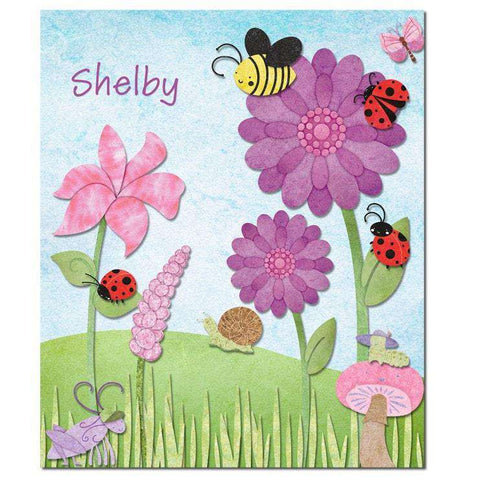 Personalized Friendly Bugs and Flowers Fleece Blanket