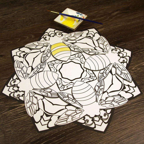 Buzzing Bees Mandala ColorMe Decal