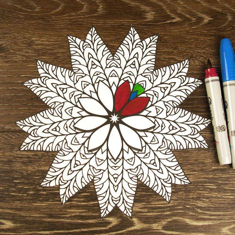 Floral Star Mandala ColorMe Decal