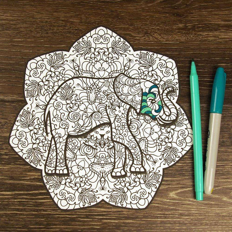 Lucky Elephant Mandala ColorMe Decal