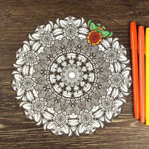 Funky Floral Mandala ColorMe Decal