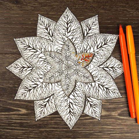 Lovely Leaves Mandala ColorMe Decal