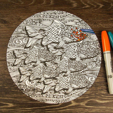 Groovy Goldfish Mandala ColorMe Decal by Valentina Harper