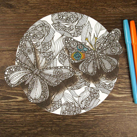 Divine Butterflies Mandala ColorMe Decal by Valentina Harper