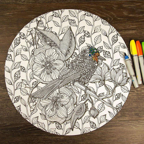 Bird on Tree Branch Mandala ColorMe Decal by Valentina Harper