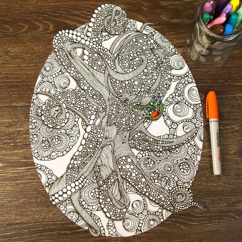 Octopus Bloom Mandala ColorMe Decal by Valentina Harper
