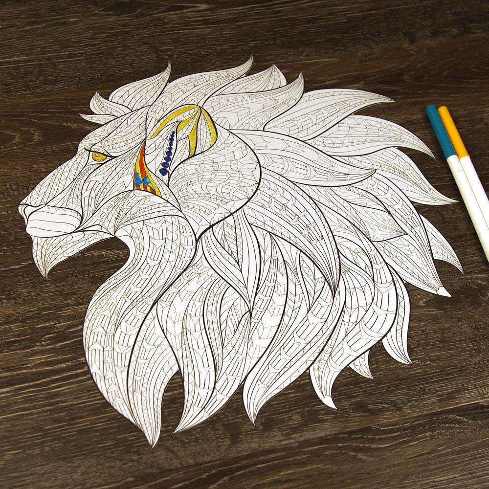 Lion Head ColorMe Decal Coloring Page