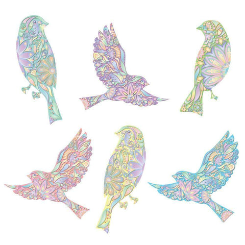 Pastel Bird Decals - Set of 6 Peel & Stick Floral Bird Stickers