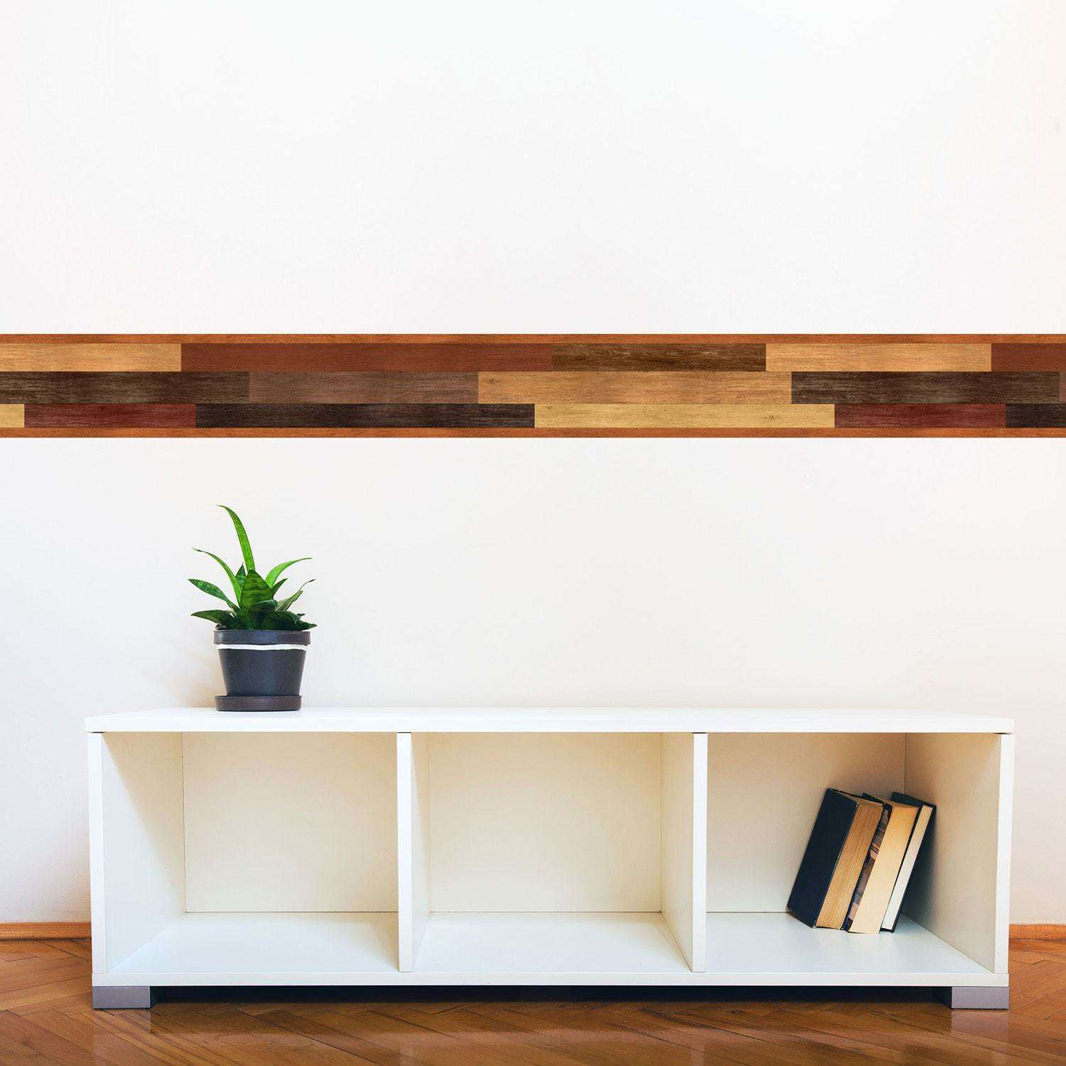 MultiToned Wood Stripe Wall Decal - Wall decals wood