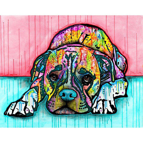 Lying Boxer Dog Wall Sticker Decal by Dean Russo