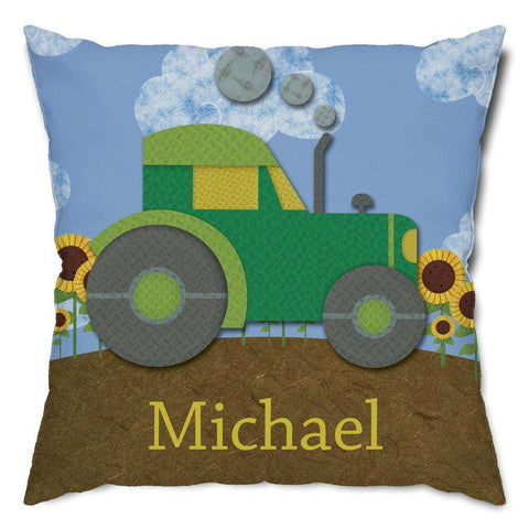 Personalized Tractor Throw Pillow