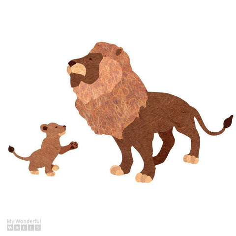 Lion and Cub Sticker Decal Set