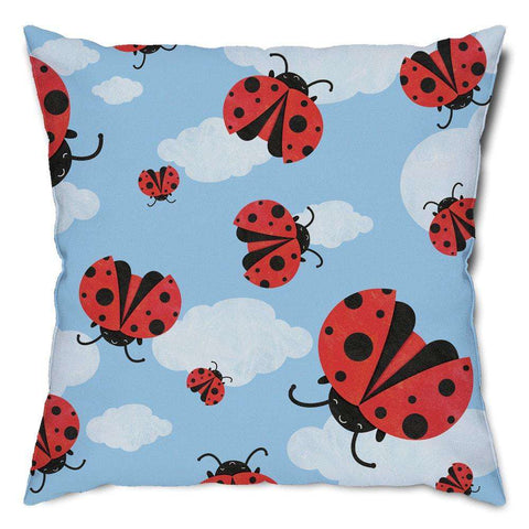 Ladybug Sky Throw Pillow