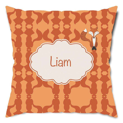 Personalized Friendly Fox Throw Pillow