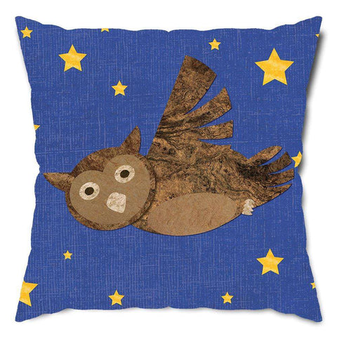 Starry Night Owl Throw Pillow