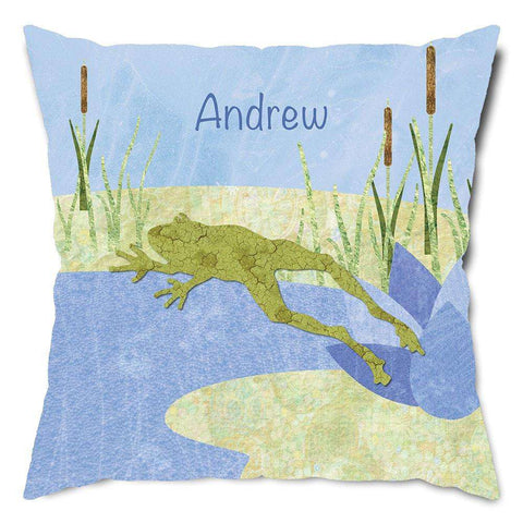 Personalized Day at the Frog Pond Throw Pillow