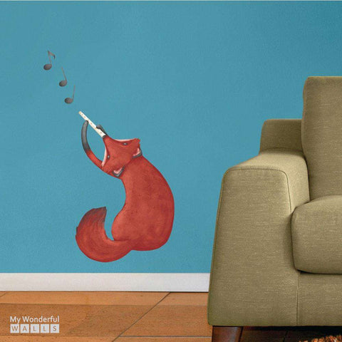 Musical Fox Wall Decal - Repositionable Sticker by Laura González