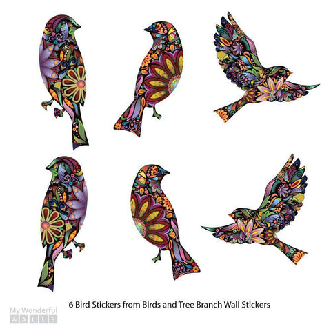 Bird Stickers in Lovely Flower Pattern - Set of 6 Bird Decals