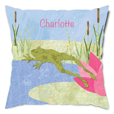 Personalized Pink Lily Pad Frog Throw Pillow