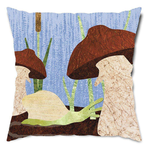 Snail and Mushrooms Throw Pillow