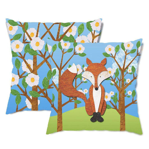 Fox and Flowers Throw Pillow
