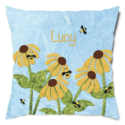 Personalized Bees and Flowers Throw Pillow