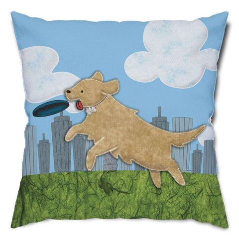 Playful Labrador Retriever Throw Pillow