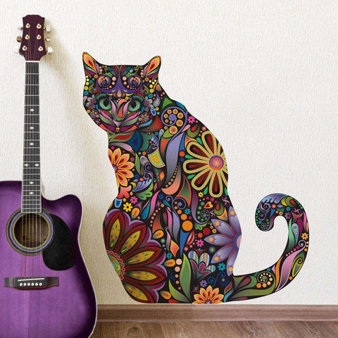Sitting Cat Wall Sticker - Repositionable Floral Cat Wall Decal