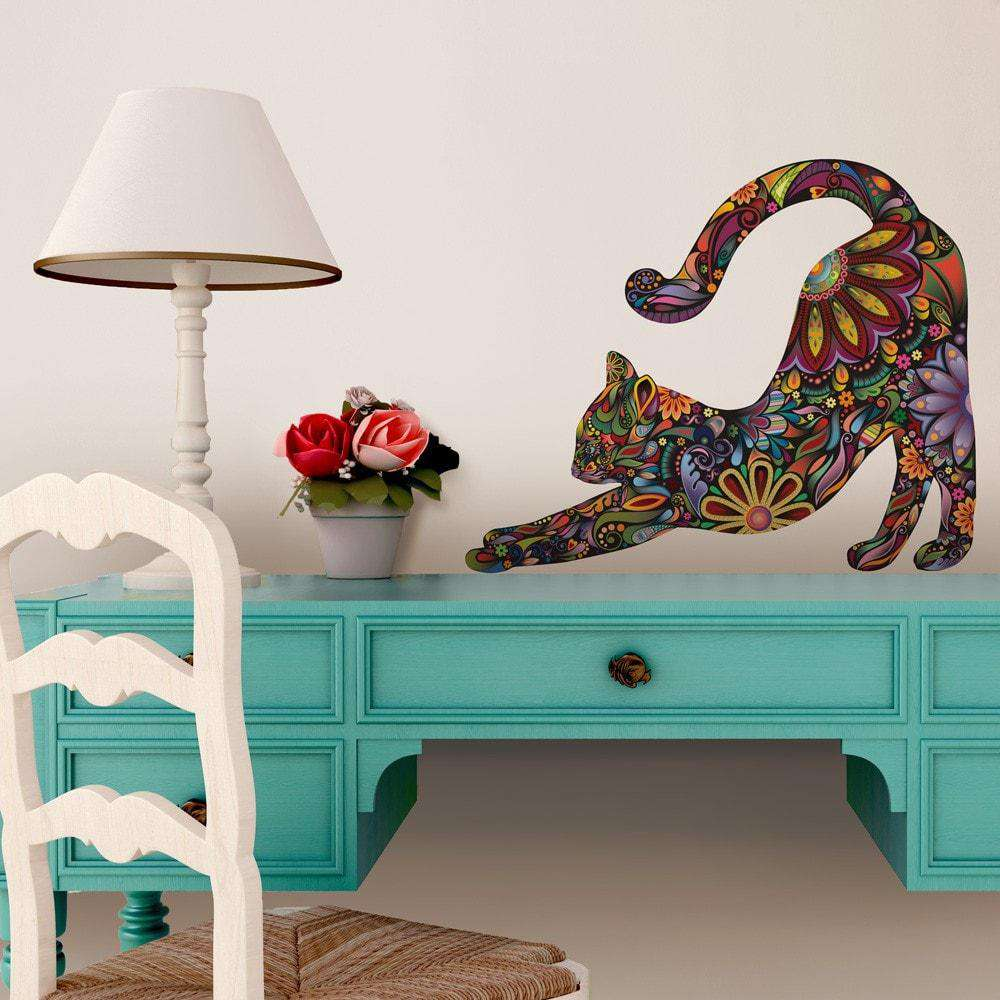Stretching Cat Wall Sticker - Repositionable Floral Cat Wall Decal