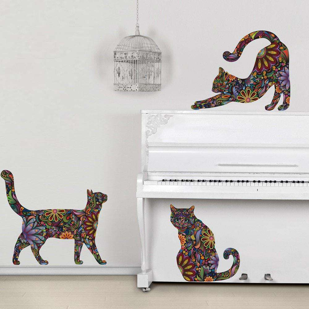 Cat Wall Sticker Trio   Set Of 3 Stickers   Repositionable Cat Wall Decals  In Flower Pattern Part 32