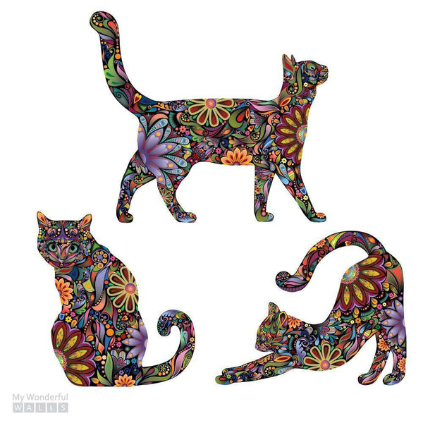 Cat Wall Sticker Trio Set Of 3 Stickers Repositionable
