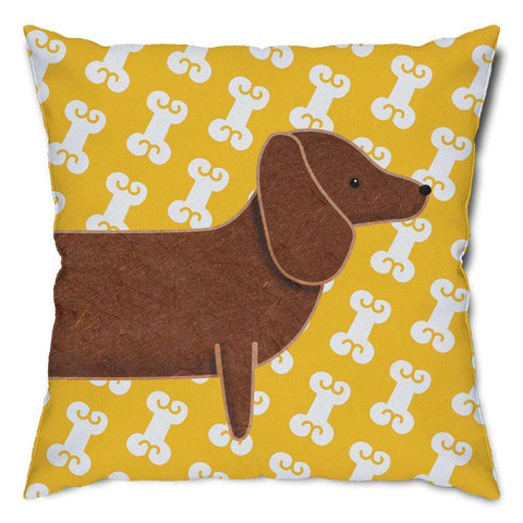 Dachshund and Dog Bones Throw Pillow