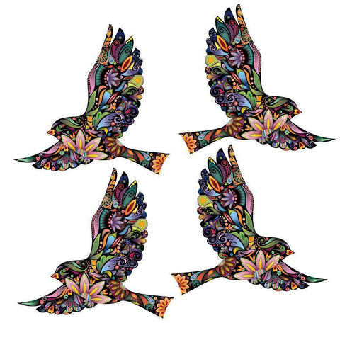 Flying Floral Bird Wall Stickers for Walls and Windows - Set of 4