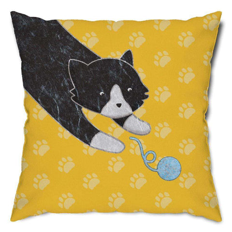 Playful Black Cat Throw Pillow