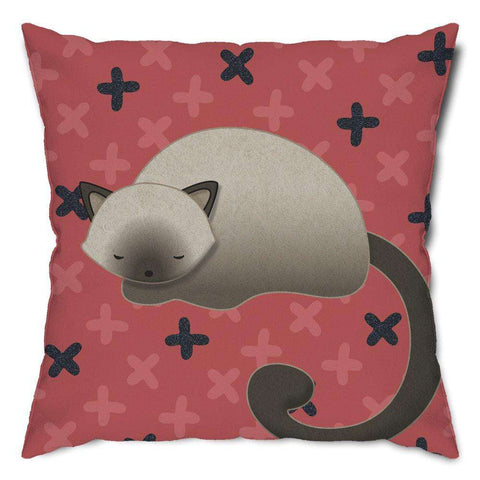 Napping Siamese Cat Throw Pillow
