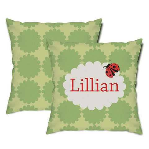 Personalized Ladybug Throw Pillow